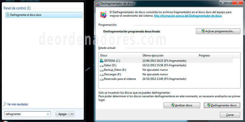 Desfragmentador de discos de windows