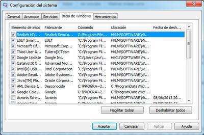Configuración del sistema con msconfig