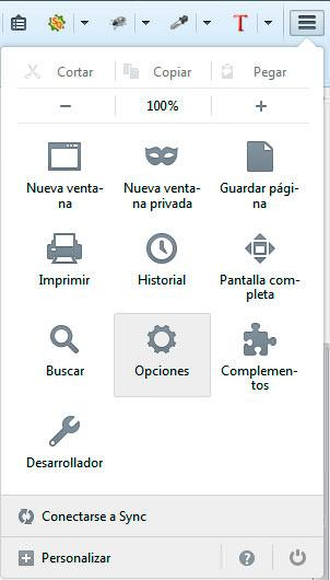 Menú opciones Firefox