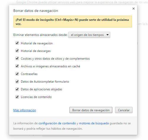 opciones para eliminar historial google